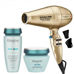 Secador Portofino Gold Babyliss + Shampoo + Máscara Capilar Kérastase